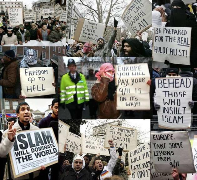"""Koláž fotografií z rôznych zhromaždení Moslimov. Na transparentoch sa píše napríklad """"Pripravte sa na skutočný holokaust"""", """"Islam ovládne svet"""" alebo """"Európa je rakovina, Islam je odpoveď""""."""