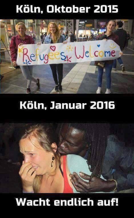 Po incidentoch v Kolíne sa internetom začali šíriť obrázky, zobrazujúce paradox medzi vítaním utečencov spred pár mesiacov a ich správaním počas Silvestra.